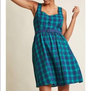ModCloth Green & Navy Chevron Checkered Belt Dress